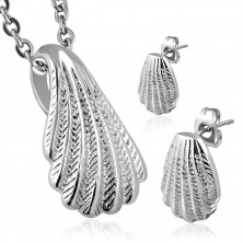 Set of earrings and a pendant made of surgical steel - shell in silver colour