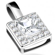 Pendant, 925 silver, sparkly square contour, clear cut zircon in the middle