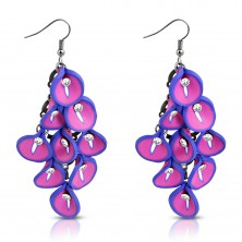 FIMO earrings - cluster of pink-violet Calla flowers, clear zircons in the middle