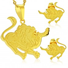 Steel set in gold colour, earrings and pendant, zodiac sign LEO