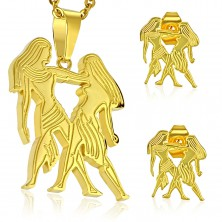 Set made of surgical steel in gold hue, pendant and earrings, zodiac sign GEMINI