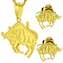 Steel set in gold colour - pendant and stud earrings, zodiac sign TAURUS