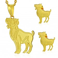 Set made of 316L steel in gold colour - pendant and earrings, zodiac sign ARIES