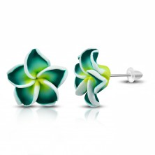 Stud FIMO earrings, green-yellow flower with white border