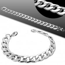 Bracelet made of 316L steel in silver hue, big flattened links