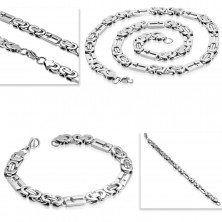 Set made of 316L steel in silver colour - necklace and bracelet, oblongs with crosses
