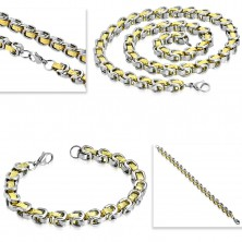 Set made of surgical steel - necklace with bracelet, bicoloured links, Greek key