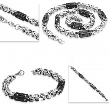 Set made of 316L steel - necklace and bracelet, bicoloured links, cutouts