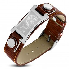 Bracelet made of brown synthetic leather, steel plate in silver colour - Chinese dragon