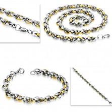 Steel set - necklace with bracelet, bicoloured oval links