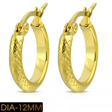Round earrings made of 316L steel, circle in gold colour with grid pattern