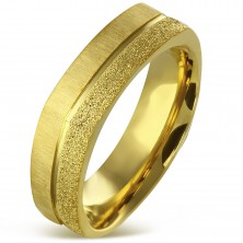 Angular ring made of surgical steel in gold colour - sanded and satin strip, 7 mm