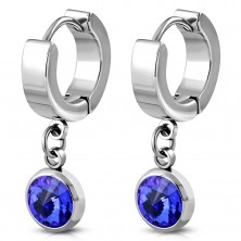 Hinged snap earrings made of 316L steel with dangling blue zircon in mount