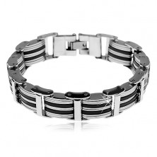 Bracelet made of 316L steel and black rubber, protruding links joined by oblongs