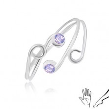 Ring made of 925 silver for hand and leg, thin shoulders with violet zircons