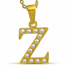 Shiny steel pendant in gold colour, letter Z inlaid with clear zircons