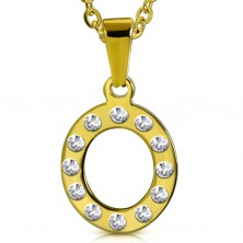 Steel pendant in gold hue, letter O inlaid with clear zircons