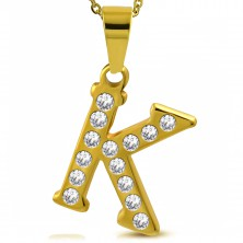 Pendant made of 316L steel in gold colour, printed letter K, cut clear zircons