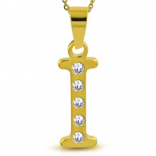 Pendant made of surgical steel in gold colour, printed letter I decorated with zircons