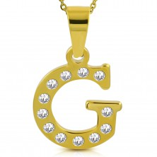 Pendant in gold colour, surgical steel, printed letter G adorned with zircons