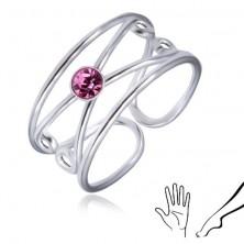 925 silver ring - round light violet zircon, double loop