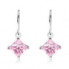 Earrings made of 925 silver - pink rhombus zircon in mount, 7 mm