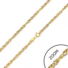 Chain made of yellow 585 gold - eight-shaped and oval links, 450 mm