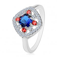 925 silver ring, dark blue centre, clear and red zircons