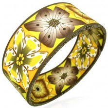 Wide FIMO bracelet with autumn flowers