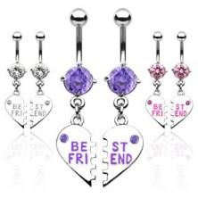 Set of BEST FRIEND broken heart belly rings