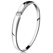 Engagement ring made of white 14K gold - clear zircon, slightly protruding shoulders