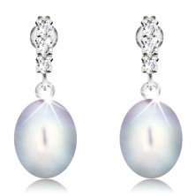 585 gold earrings - three clear zircons, big oval pearl in gray colour