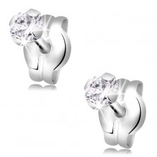 Earrings made of white 14K gold - round clear zircon, 3 mm