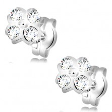 Earrings made of white 14K gold - flower with ball in the middle and clear zircons