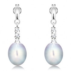 14K gold earrings - shiny strip, three clear zircons and gray oval pearl