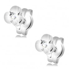 585 gold earrings - shiny flower with clear zircon in the middle, white gold