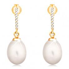 14K gold earrings - dangling oval pearl in white colour, zircon arc