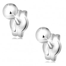 Earrings made of white 14K gold - shiny smooth balls, 3 mm