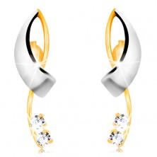 585 gold earrings - intersecting bicoloured lines, two clear zircons