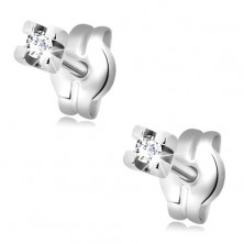 Earrings made of white 14K gold - round clear zircon, 1,5 mm