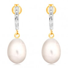 14K gold earrings - engraved arc made of white gold, white oval pearl