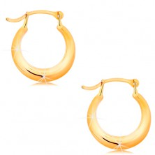 585 gold earrings - small shiny circle, rounded shiny surface