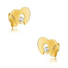 Diamond earrings made of 585 gold - shiny heart with cutout and clear brilliant