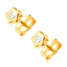 585 gold earrings - tiny flower with clear glossy diamond