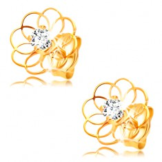 585 gold earrings - thin flower contour with clear zircon in the middle