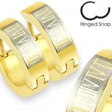 316L steel earrings - circles of gold hue, rectangle and Roman numerals