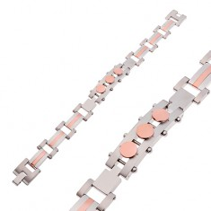 Bracelet made of surgical steel, tag with circles, silver and copper colour