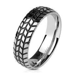 Steel ring in silver colour, structured tire tread pattern, 6 mm
