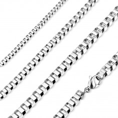 316L steel chain, shiny angular links, silver colour
