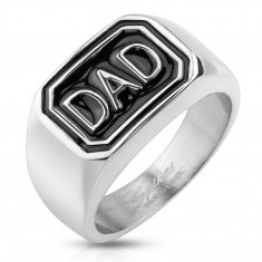 316L steel ring in silver colour, black rectangle with inscription DAD